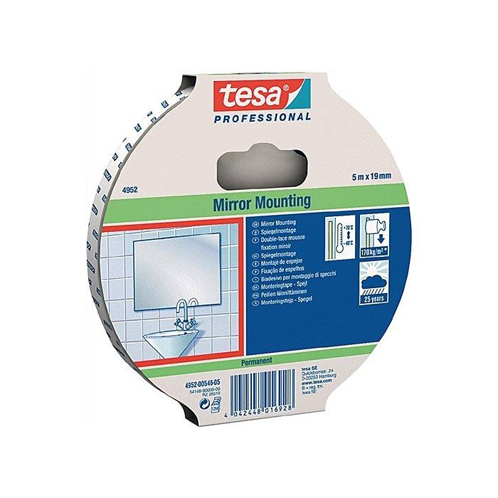 Tesa Klebeband tesafix 4952 Länge 50m Breite 19mm weiss zur Spiegelbefestigung tesa 04952-00533-00
