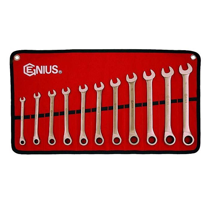 GENIUS Edelstahl Ratschenschlüssel Multigear Satz 72 Zähne 8 - 19mm metrisch 6tlg. GW-7211M