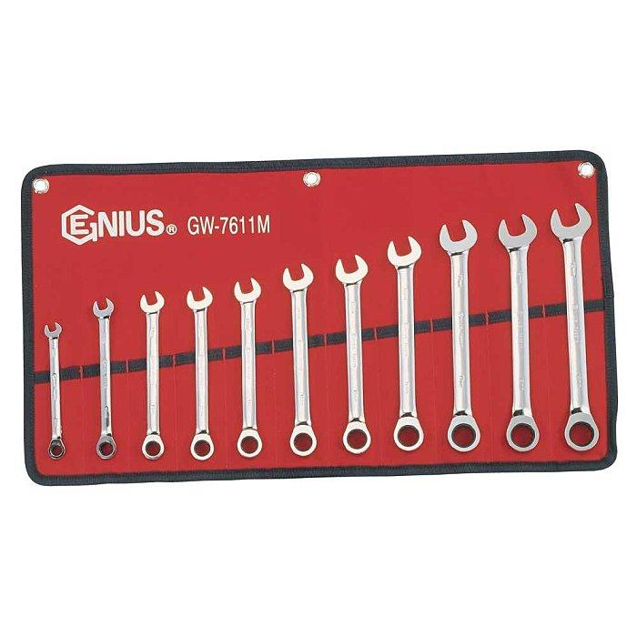 GENIUS Ratschenschlüssel Satz 72 Zähne 8 - 19mm metrisch 11tlg. GW-7611M