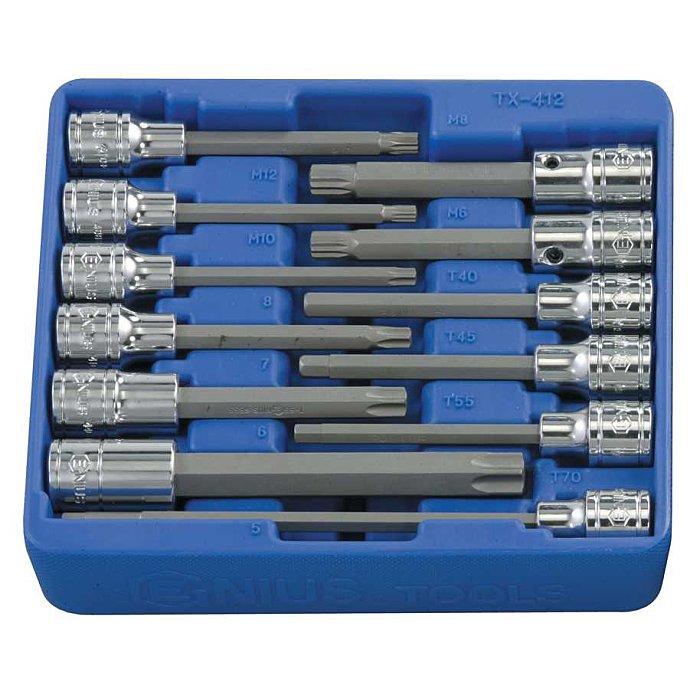 """GENIUS 1/2"""" Bitnuss Satz Inbuss 5 - 8mm, Torx T40 - T70, Vierzahn M6 - M12 12tlg. TX-412"""