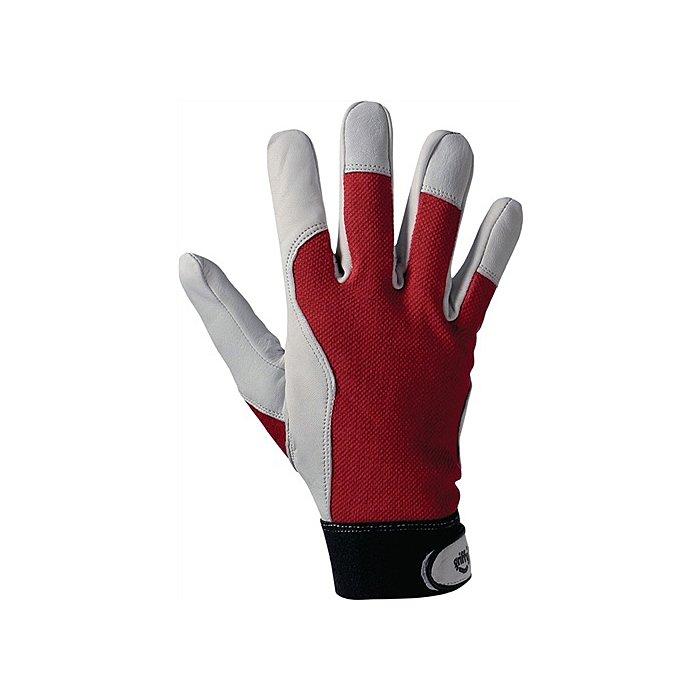 L+ D Handschuh EN388 Kat.II Gr. 10 Ziegennappa Handrücken rot Klettverschluss a.Karte 1706-10