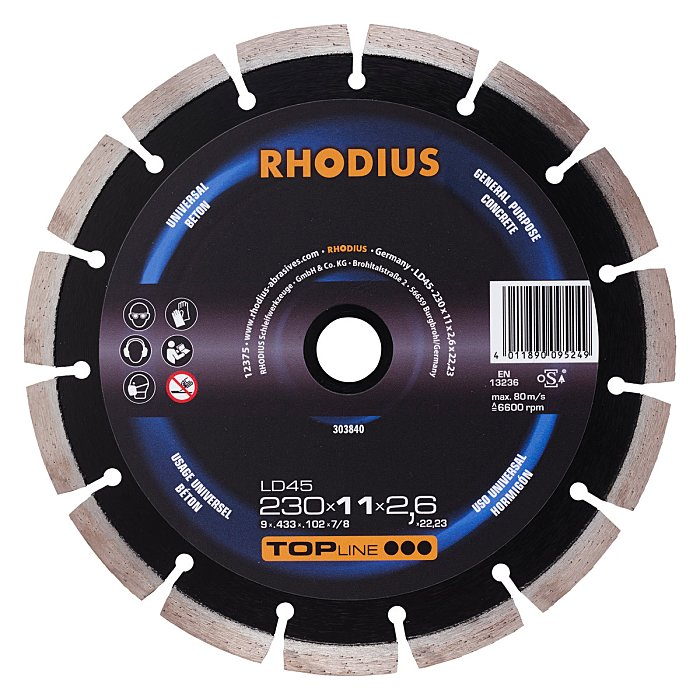 Rhodius Diamanttrennscheibe LD45 TOPline, 350 x 11,0 x 3,0 x 25,40mm 303837