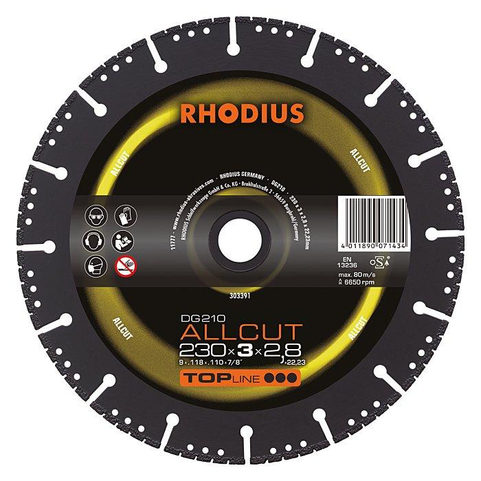 Rhodius Diamanttrennscheibe DG210 ALLCUT TOPline, 230 x 3,0 x 2,8 x 22,23mm 303391