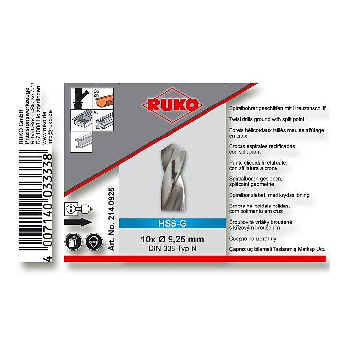 Ruko Spiralbohrer DIN 338 HSS-G Kreuz  9,25mm 2140925