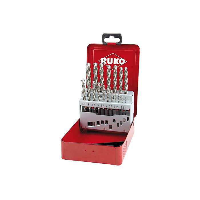 Ruko Spiralbohrersatz DIN 338 Typ FO HSSE Co 5 in Industriekassette 280214E