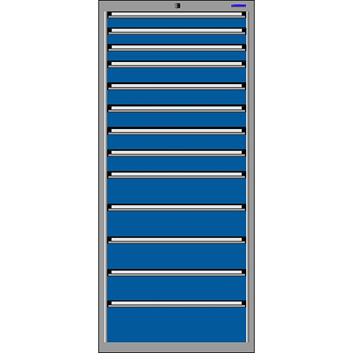 LOKOMA SCHUBLADENSCHRANK RS 717,1625h 3x75,5x100,4x150 u.1x200 BH-TA 00.02.1581