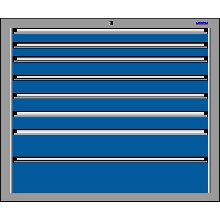 LOKOMA SCHUBLADENSCHRANK RS1196;1000h 2x75,4x100,150 TA u. 200 mm VA 00.02.7569