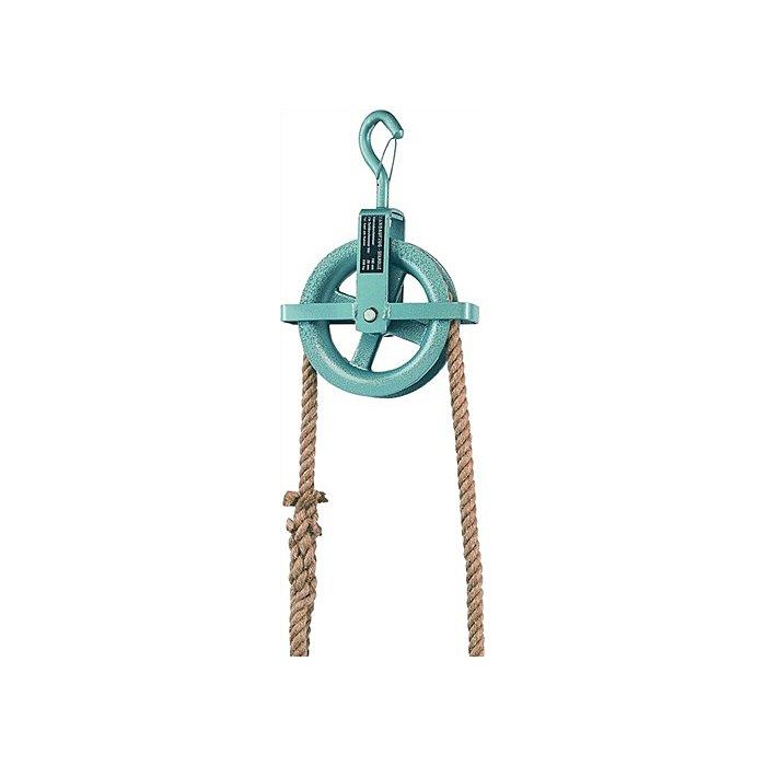 Braun Baurolle Seilrad 190mm Ø mit Hakensicherung und Kreuzbügel für Seil bis 28mm Ø 70127EAN