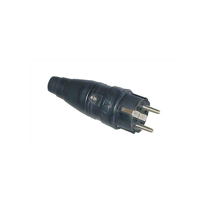 ERSO Schuko-Stecker a.Gummi IP44 schwarz 250V/10-16A 2polig m.Dichtlippe VSB 2212