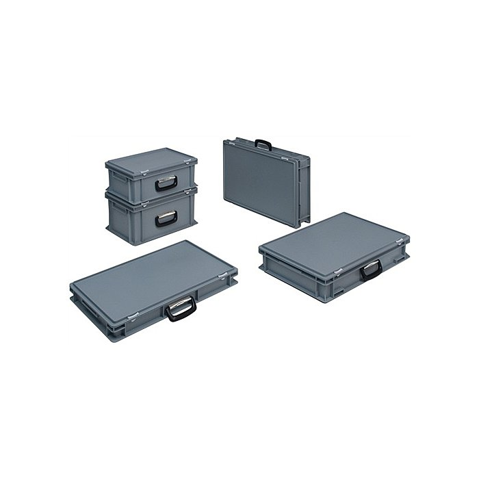 Lockweiler Kunststoffkoffer 15l PP m.1Griff L600xB400xH88mm grau stapelbar PC15-139215110118