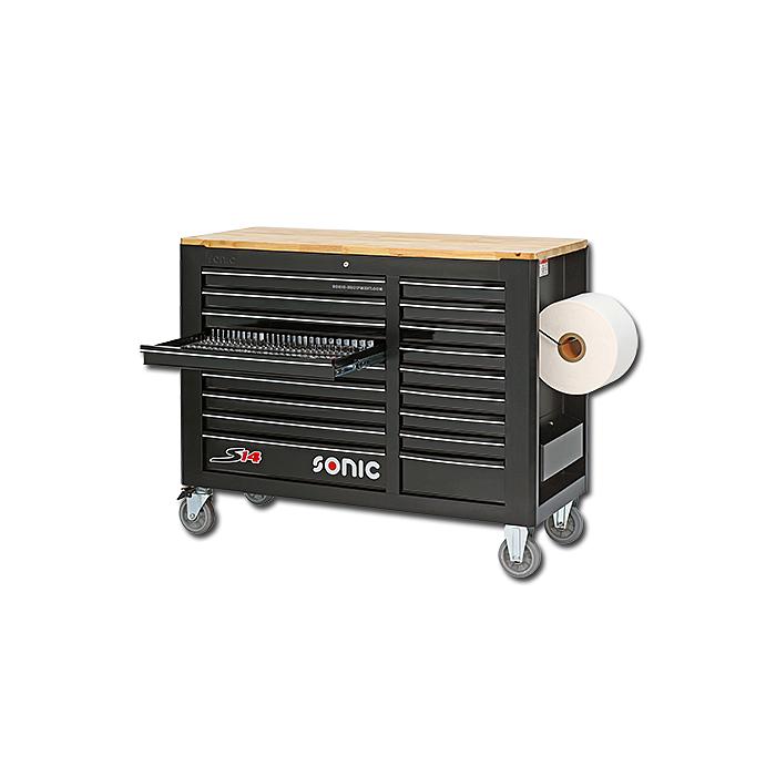 Sonic Werkstattwagen S14 gefüllt, 644-teilig schwarz 764408