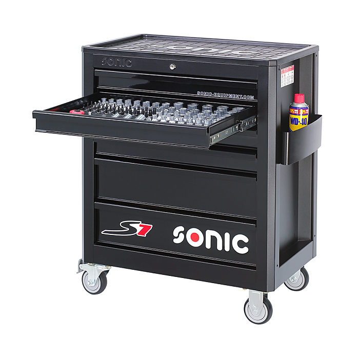 Sonic Werkstattwagen S7 gefüllt, 140-teilig schwarz 714040