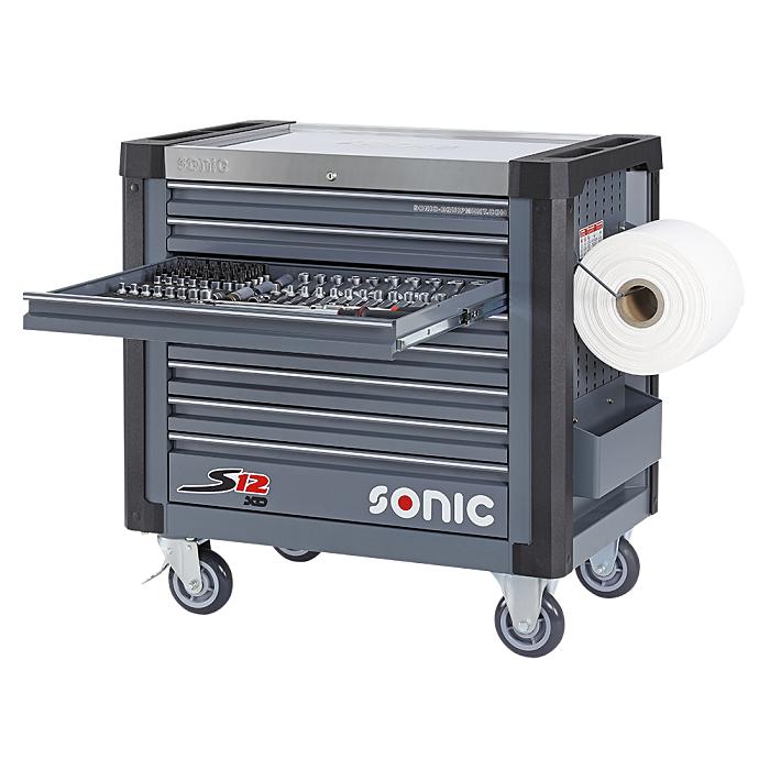 Sonic Werkstattwagen S12 XD gefüllt, 735-teilig dunkelgrau 773546
