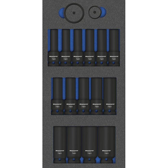 MATADOR MTS R: Kraft-Steckschlüssel 12,5(1/2) lang, 19-tlg., 1/3: 390x190mm 8164 7481