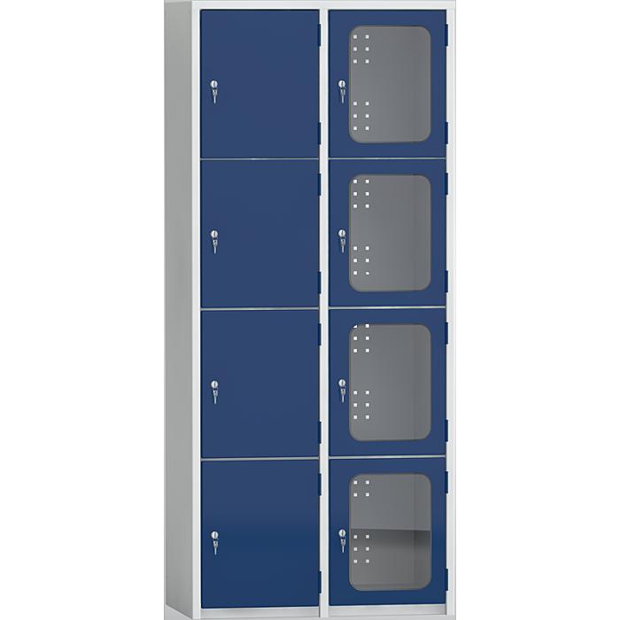 KLW Wertfachschrank - 1850 x 800 x 500 mm H x B x T, mit 2 x 4 Abteilen 08/87-4v2h-020
