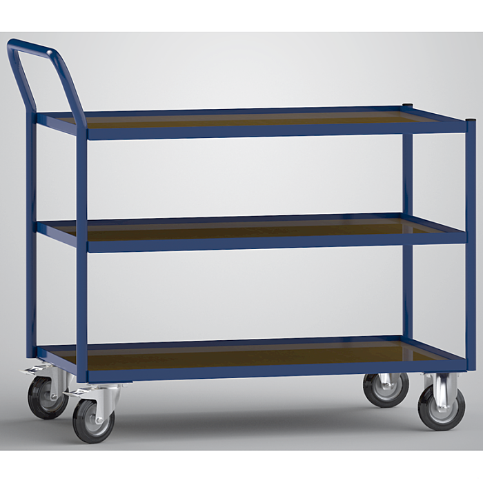 KLW Tischwagen mit 3 Ladeflächen aus phenolharzvergütetem Sperrholz 8604-6019K-3C12
