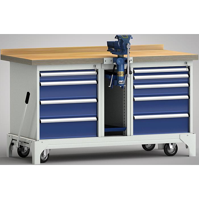 KLW fahrbare Standard-Werkbank - 1700 x 700 x 866 mm L x B x H WS797N-1700M40-E7020