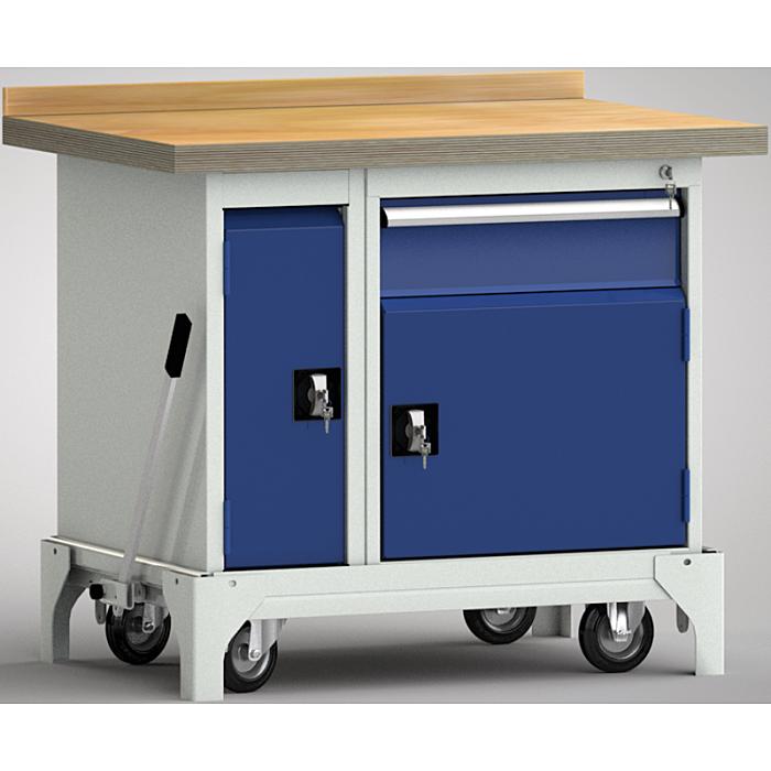 KLW fahrbare Standard-Werkbank - 1000 x 700 x 866 mm L x B x H WSB95N-1000M40-E7045