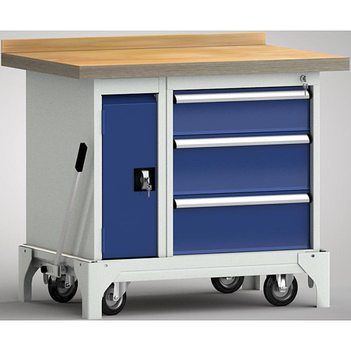 KLW fahrbare Standard-Werkbank - 1000 x 700 x 866 mm L x B x H WSB95N-1000M40-E7046