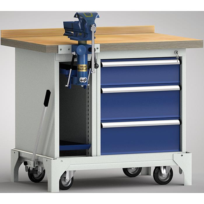 KLW fahrbare Standard-Werkbank - 1000 x 700 x 866 mm L x B x H WS795N-1000M40-E7037