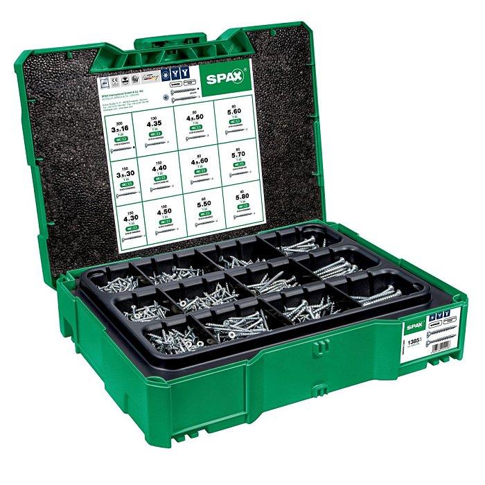 SPAX Box systainer T-Loc I, Schraubenset mit 12 Abmessungen, Senkkopf, T-STAR p 5000009172009