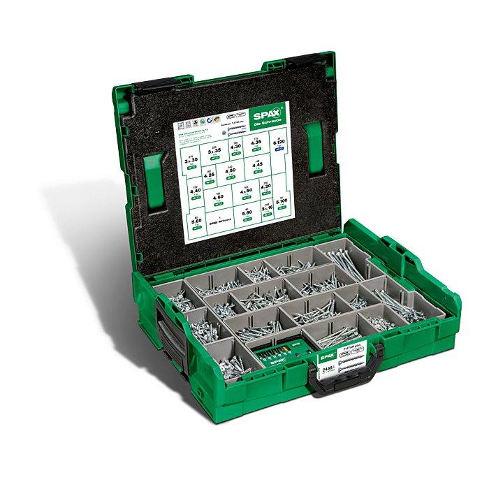 SPAX Montagekoffer L-BOXX, 1 Stück, Schraubenset mit 16 Abmessungen, Senkkopf, T-STAR plus, 4CUT, WIROX 5000009161019