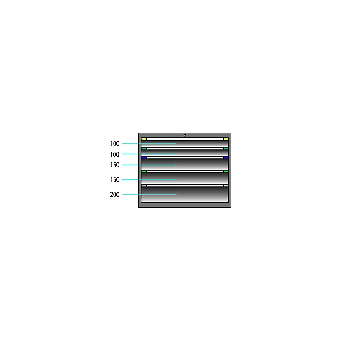 ThurMetall Schubladenschrank (BxTxH) 605x695x800mm KEY Lock Brilliantblau RAL 5007 86.456.210