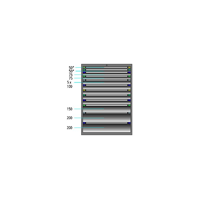 ThurMetall Schubladenschrank (BxTxH) 1205x695x1400mm KEY Lock Resedagrün RAL 6011 84.386.030