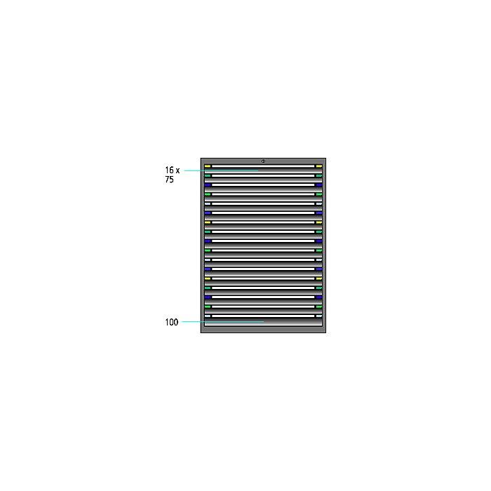 ThurMetall Schubladenschrank (BxTxH) 605x695x1400mm KEY Lock Lichtblau RAL 5012 84.412.010