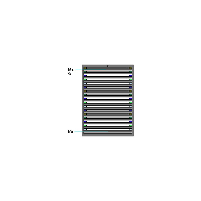 ThurMetall Schubladenschrank (BxTxH) 605x695x1400mm KEY Lock Taubenblau NCS S 4040-R70 B 84.413.876