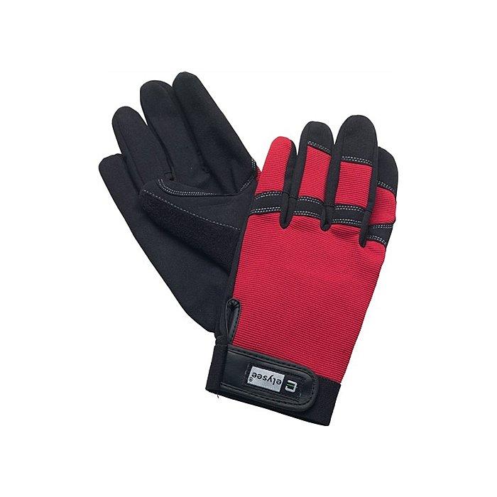 NORDWEST Handschuhe EN388 Kat. II Mechanical Technician Gr.10 schwarz/rot Klettverschluss