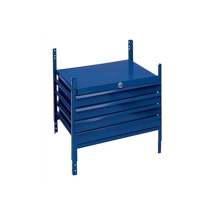 NORDWEST Regalelement m. 4 Schubl. LOGS 120 H520xB540xT390mm Blau RAL 5022 abschließbar