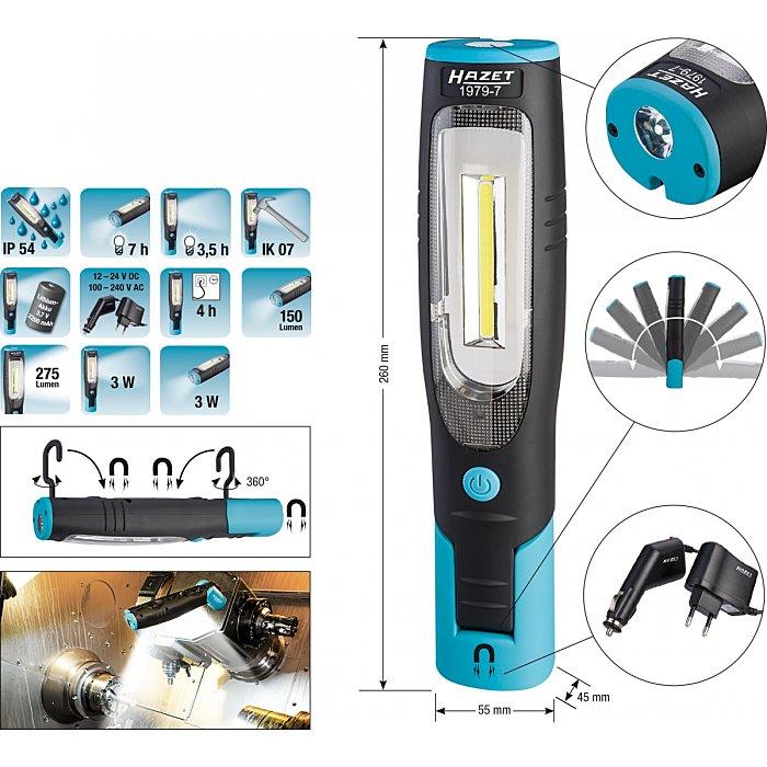 Hazet 1979-9.0 Lampe LED Slim Light 2 sources de lumi/ère max. 560 lumens, r/églable en continu, design fin, batterie int/égr/ée