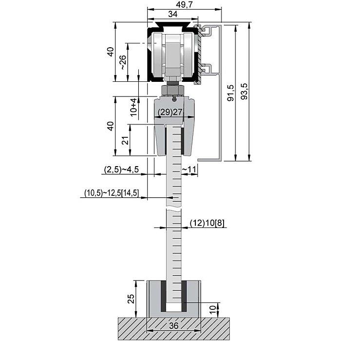 Woelm HELM 140 Abdeckkappenpaar 49, 5 x 91, 5 mm, EV1 eloxiert, einseitig 120110015003