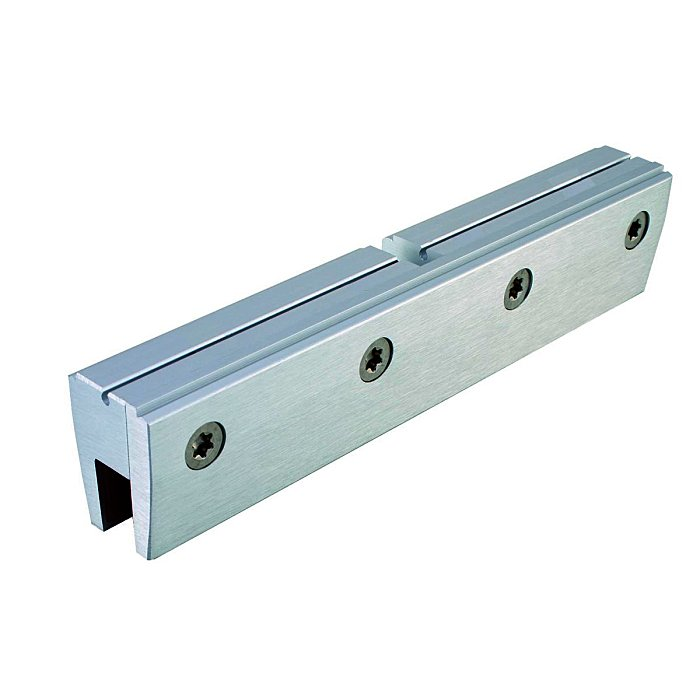 Woelm HELM 150 Glasklemmstück 8-10 mm ESG, 180 mm lang, EV1 eloxiert 150070002029