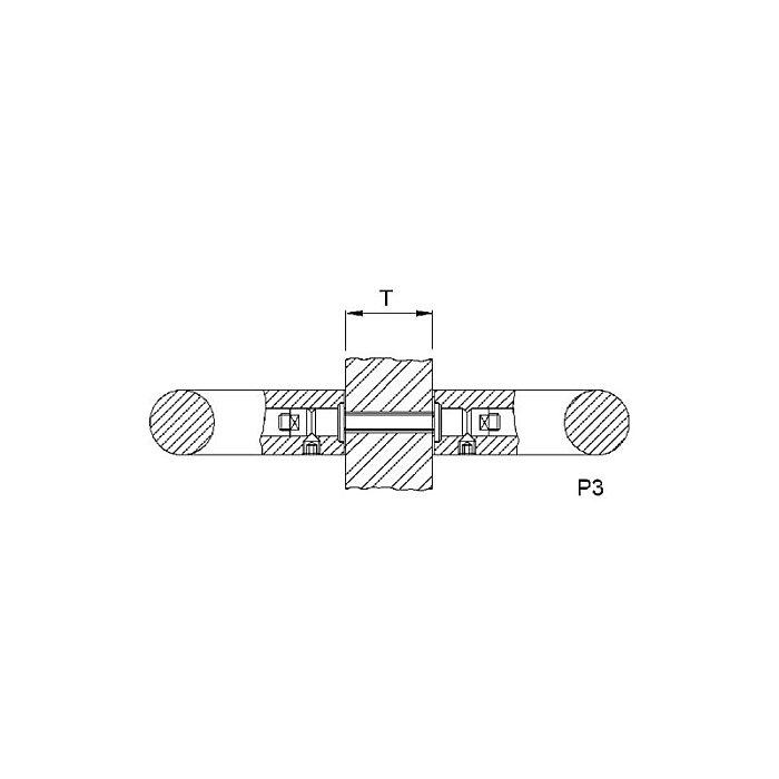 Woelm KWS 8B03 Paarbefestigung für zwei Lochteile, P 3 - M 8 8B0380