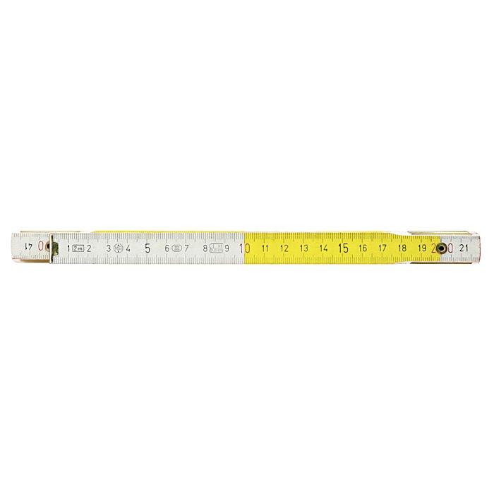 KS Tools Holz-Gliedermaßstab, weiß/gelb, 2m 300.0063