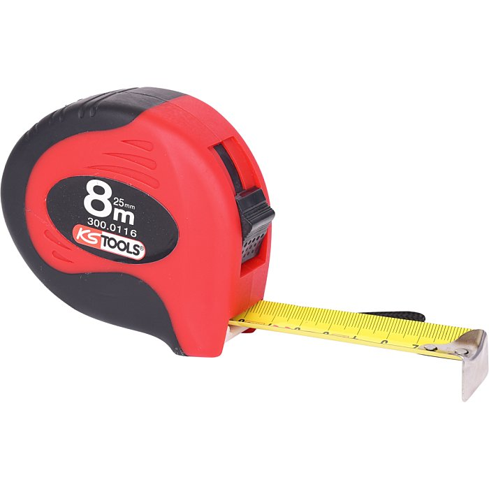 KS Tools Bandmaß m.Feststeller+Gürtelclip, 8m, 25mm 300.0116
