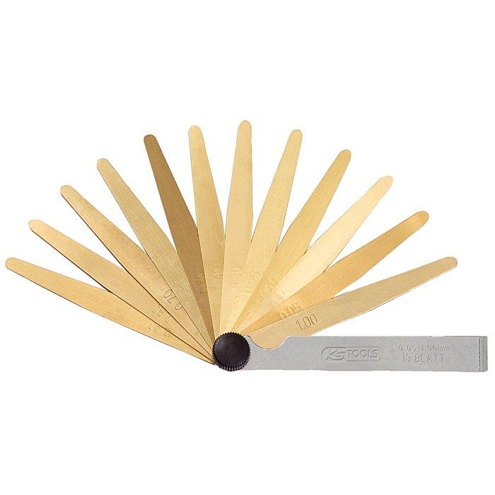 KS Tools Messing-Fühlerlehre, 13 Blatt, 05-1mm, antimagnetisch 300.0612