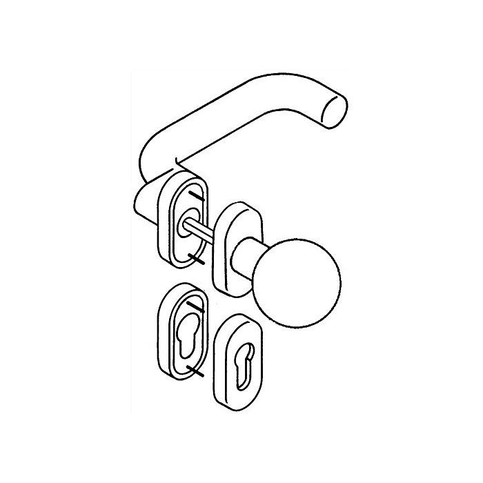 HEWI Rosetten-Drückergrt.114.23gkR/123.23R/315.23R/316R PZ VK8 TS38,1-48mm reinweiss 111R03.443 99