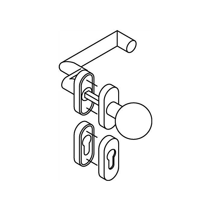 HEWI Rosetten-Drückergrt.166.21ABH/109AB/315/316ABH PZ VK8 TS38,1-48mm Alu.matt 162ABH03.649