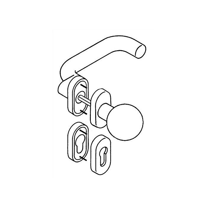 HEWI Rosetten-Drückergrt.114.23gkR/123.23R/315.23R/316R PZ TS48,1-58mm felsgrau WE 111R03.443 95