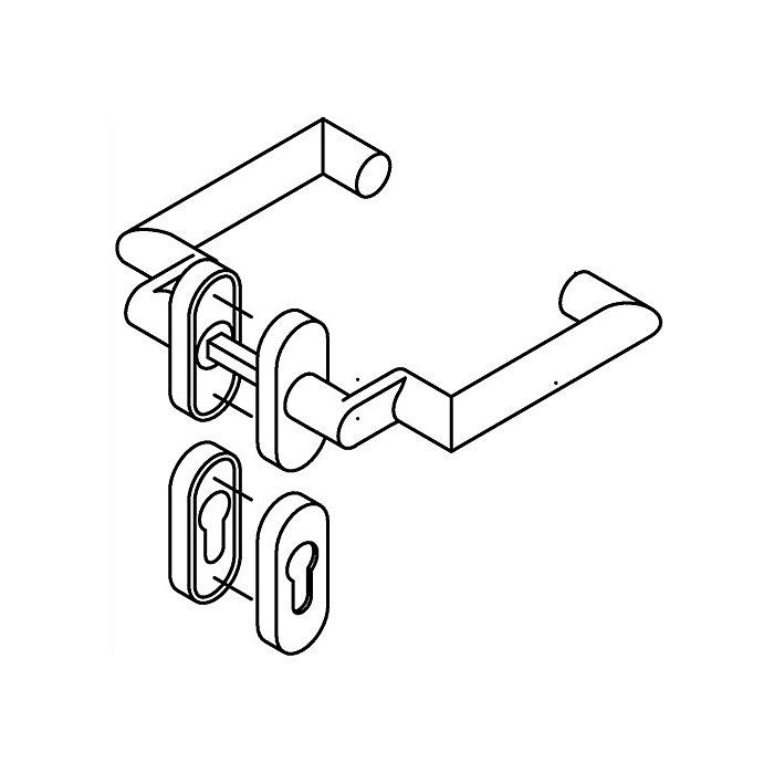 HEWI Rosetten-Drückergrt.166.21ABH/315.21ABH/316ABH PZ VK8mm TS38,1-48mm Alu.matt 162ABH01.640