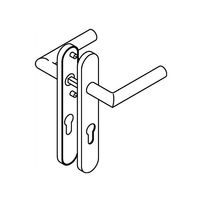 HEWI Kurzschild-Drückergrt.162XAH/219.21XAH E72 PZ VK8mm TS38,1-48mm VA matt 162XAH01.250