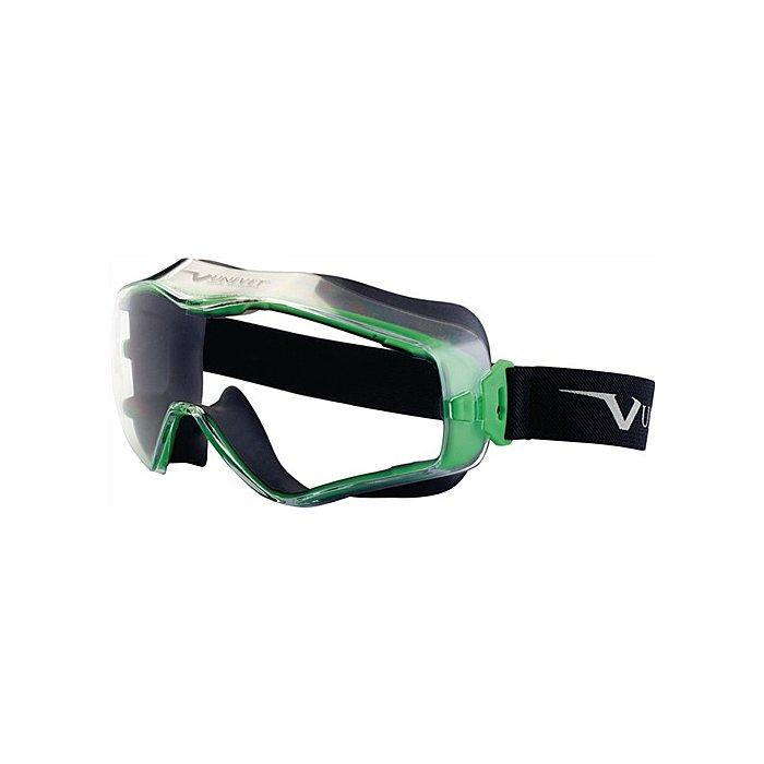UNIVET Vollsichtbrille 6x3 Fassung gun metallic/grün EN166 Panoramagläser klar indirekt 6X3.00.00.00