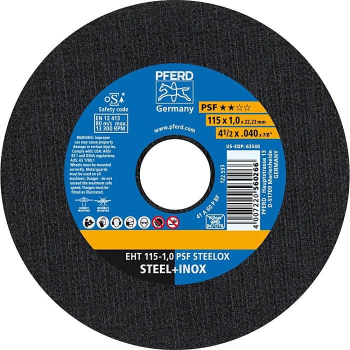 PFERD Discos de corte EHT 115-1,0 PSF STEELOX 61730100