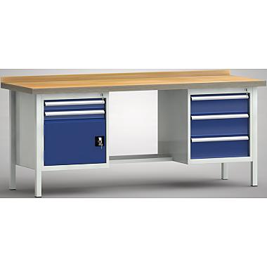 KLW Standard-Werkbank - 2000 x 700 x 900 mm L x T x H, (ERGO-Version) WS202E-2000M40-E2070