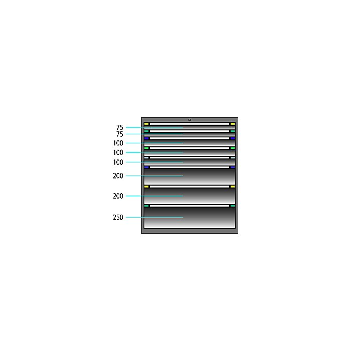 ThurMetall Schubladenschrank (BxTxH) 805x695x1200mm KEY Lock Brilliantblau RAL 5007 84.358.210