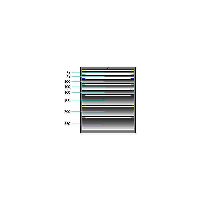 ThurMetall Schubladenschrank (BxTxH) 805x695x1200mm KEY Lock Schwarz NCS S 9000-N 84.359.060