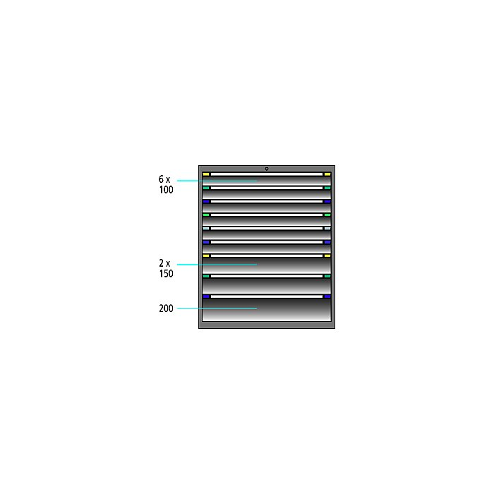 ThurMetall Schubladenschrank (BxTxH) 605x695x1200mm KEY Lock Brilliantblau RAL 5007 84.372.210